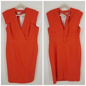 ASOS Square Cap Sleeve Choker Sheath Dress Sz 14